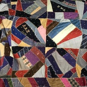 "Crazy Quilt Top With Fancy Stitching 72""x84"""